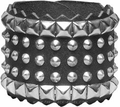 Gothic metal wristband with small studs and pyramid rivets.