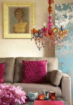 bright colors, chandelier, candles