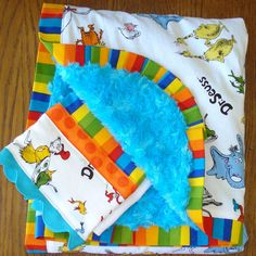 $43 Slightly Smaller...Classic Dr. Seuss Characters Minky Blanket and Burp Cloth Set...PERSONALIZATION AVAILABLE