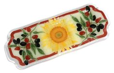 Peggy Karr Handcrafted Art Glass Tuscany 3section Divided Serving Tray Rectangular 20Inch ** This is an Amazon Affiliate link. To view further for this item, visit the image link.
