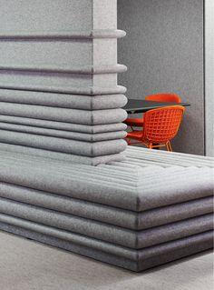 filzfelt aro baffle - Google Search Banquettes, Commercial Design, Commercial Interiors, Office Interior Design, Office Interiors, Acustic Panels, Home Decor Furniture, Furniture Design, Acoustic Wall Panels