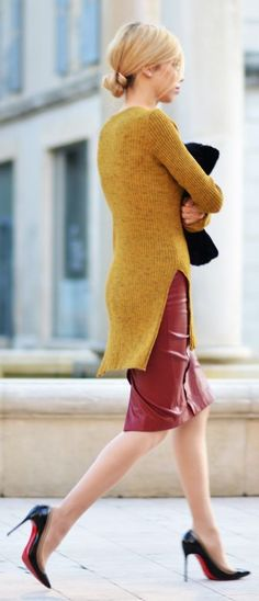 Mustard Knitted Long Line Sweater