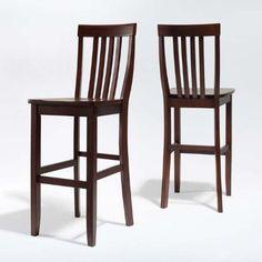 "Amazon.com - Set of 2 School House Bar Chairs (Vintage Mahogany) (46.5""H x 18.5""W x 22.5""D) - Folding Patio Chairs"