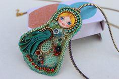 Matryioshka art doll, shibori and zipper pendant. OOAK.