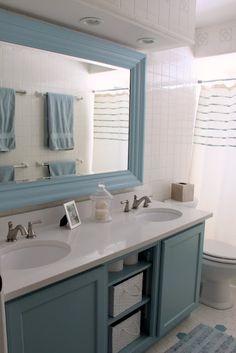 blue bathroom framed mirror elegant and amazingly large bathroom mirror design excel Brown Bathroom Interior, Bathroom Interior Design, White Bathroom, Ikea Bathroom, Boho Bathroom, Bathroom Mirrors, Bathroom Faucets, Bathroom Furniture, Bathroom Storage