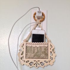 Cell Phone Holder wall socket charging holder IPhone by JabberDuck, $25.00