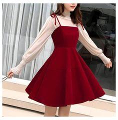 Korean Suspender Temperament Elegant Dress SE20860 #korean #girl #fashion #dress Korean Suspender Temperament Elegant Dress SE20860 – SANRENSE Cute Casual Outfits, Pretty Outfits, Pretty Dresses, Stylish Outfits, Beautiful Dresses, Elegant Red Dresses, Korean Fashion Dress, Kpop Fashion Outfits, Mode Outfits