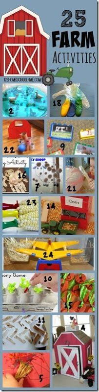 25 farm activities for kids so many fun clever and unique kids activities with farm animals barns growing food etc. Perfect for sprint or summer activities for toddler preschool kindergarten first grade grade grade or farm unit! Farm Activities, Animal Activities, Preschool Themes, Fun Activities For Kids, Farm Games, Farm Animal Crafts, Farm Animals, Preschool Animal Crafts, Preschool Kindergarten