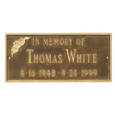 Montague Metal Products Memorial Plaque Finish: White/Silver