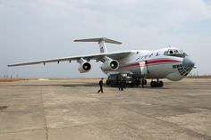 Air Koryo's IL-76 with a Russian made ground-start vehicle.