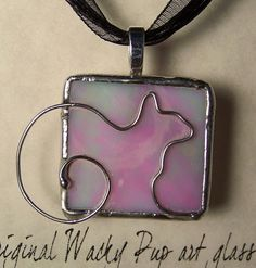 Cat Lover Iridescent Pink Tiffany Stained Glass & by WackyPup
