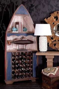 "Red/Blue 90"" Wood Boat Wine Rack on @HauteLook"