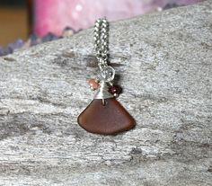 Gemstone & Seaglass Necklace  Hawaiian Jewelry  Amber Sea