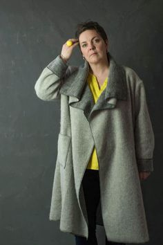 """Buy the Bianca Coat sewing pattern from Sew Me Something. This loose fit """"coatigan"""" has a dropped shoulder line to add ease and comfort. Sew Your Own Clothes, Sewing Clothes, Boiled Wool Coat, Find A Husband, Coatigan, Knitted Fabric, Double Breasted, Fur Coat, Stylish"""