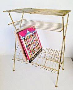 vintage brass three level vinyl record and turntable rack table by forrestinavintage, $50.00