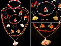 Ohio football jewelry-Ohio state jewelry lot-OSU jewelry collection-Ohio state university bracelet-Ohio buckeyes-cleveland browns jewelry by BECKSRELICS on Etsy