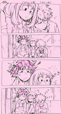 Izuku better be ticked off that his boyfriend fell asleep on a girls shoulder