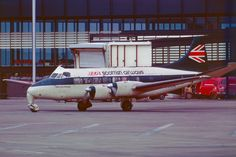 G-ANXA DH114 Heron 1B of BEA Scottish Airways at Glasgow in 1973 Glasgow Airport, British Airline, Cargo Airlines, Long Haul, Airports, Heron, Airplane, Planes, Britain