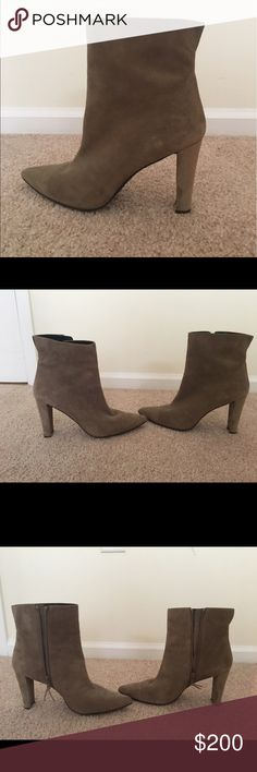 """Stuart Weitzman Heeled Bootie Barely worn high-heel, pointed-toe ankle bootie. Taupe suede upper with leather insole and rubber sole. Inner side zip closure. Covered heel. Vent at back collar. Heel height: 3.75"""". Made in Spain. Stuart Weitzman Shoes Ankle Boots & Booties"""