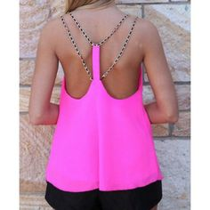 Solid Color Backless Chiffon Tank Top For Women