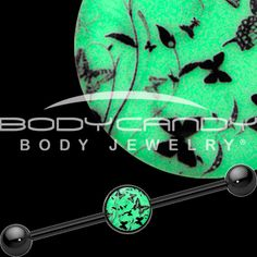 Glow in the Dark Flight of the Butterfly Industrial Barbell in Black Titanium | Body Candy Body Jewelry