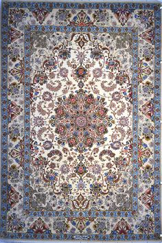 Isfahan Silk Persian Rug | Exclusive collection of rugs and tableau rugs - Treasure Gallery Isfahan Silk Persian Rug Origin: Persian, Isfahan Foundation: Silk Material: Weave: 100% Hand Woven Age: Brand New KPSI: 600 View Description