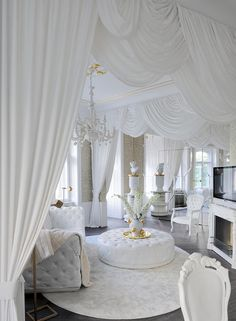 Amazing bright white baroque style living room décor with white tufted RH soho . You can find So. Glam Living Room, Indian Living Rooms, Living Room Modern, Living Room Decor, Cozy Living, Decor Room, Home Room Design, Dream Home Design, Home Interior Design
