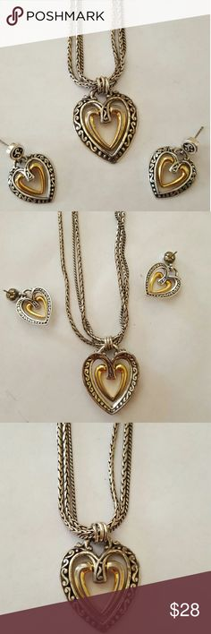 Brighton Heart Necklace w/Matching Earnings 2 Tone, Double Heart Necklace With Matching Heart Dangle Earings.. Brighton Jewelry Necklaces