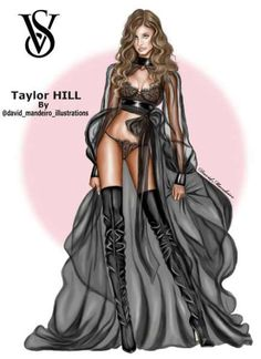 Taylor Hill at the Victoria's Secret Fashion Show 2016 by David … Taylor Hill at the Victoria's Secret Fashion Show 2016 by David Mandeiro Illustrations =================================================== Taylor Hill, Fashion Design Drawings, Fashion Sketches, Fashion Illustrations, Fashion Art, Fashion Models, Fashion Outfits, Paper Fashion, Ballet Fashion
