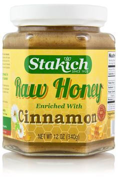 """Stakich Raw Honey is enriched with all natural ceylon cinnamon, forming a smooth and irresistibly delicious flavor that customers can't get enough of. For an instant """"cinnamon roll"""", spread this honey Kids Nutrition, Health And Nutrition, Health Tips, Nutrition Chart, Nutrition Store, Raw Food Recipes, Diet Recipes, Gourmet Foods, Honey Recipes"""