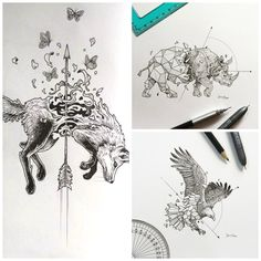 These drawings are done by Kerby Rosanes. I really enjoy his art because it is unique, unlike an art I have ever seen. He puts an awesome amount of detail in his work. I also like that he mainly draws animals. Ink Pen Drawings, Animal Drawings, Easy Drawings, Surrealism Drawing, Animal Art Projects, Tattoo Stencils, Anatomy Art, Pen Art, Sleeve Tattoos