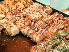 Rice balls. Wrapped in bacon. Somebody get me a one way ticket to the Kyoto Street Food fair!