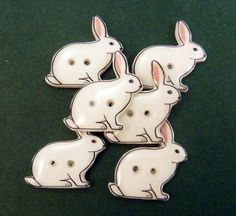6 Rabbit or Bunny Shaped Craft Sewing Buttons. by buttonsbyrobin