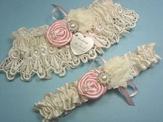 Ivory Wedding Garter Set in Venise Lace with Pink Roses and Personalized Engraving * Read more at the image link.