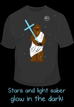 Glow-in-the-Dark Wookiee Jesus Shirt by The Oatmeal.