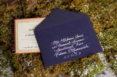 Winter Wedding Inspiration: Old English Hunting Parties. I love the envelope color and script!