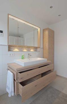 "Bathroom furniture ""light oak"" - Carpenter Baier - Badezimmer - Home Bathroom Shelves, Bathroom Flooring, Bathroom Furniture, Bathroom Cabinets, Concrete Bathroom, Bathroom Faucets, Contemporary Bathrooms, Modern Bathroom, Small Bathroom"