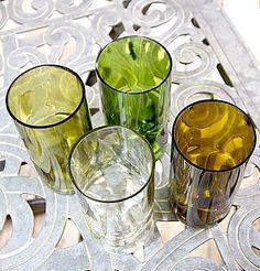 Set of 4 wine bottle glasses by GroovyGreenGlass on Etsy https://www.etsy.com/listing/71904762/set-of-4-wine-bottle-glasses