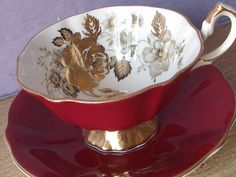 Antique 1950's Queen Anne tea cup and saucer set by ShoponSherman