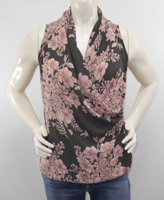 83f6b93921dccb CAbi 594 Rosewater Faux Wrap Floral Blouse Sleeveless XS Taupe Pink #CAbi # Blouse #