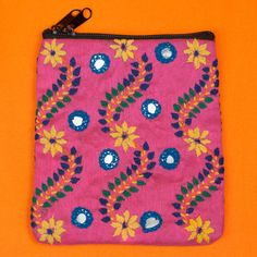 Hand embroidered mirrored pink floral purse India by SaheliDesigns