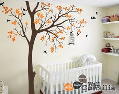 Tree Wall Decal With Personalized Name Or Quote Corner Decal With Flying  Birds And Leaves Nursery Wall Mural Sticker Tree Wall Decals   065 |  Nursery Wall ...