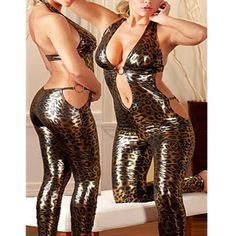 ==> [Free Shipping] Buy Best Backless Halter Jumpsuit Leopard Print Catsuit Jumpsuit Sexy Faux Leather Latex Catsuit Clubwear Fetish Bandage Online with LOWEST Price | 32812712696