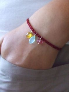 simple braid bracelet with gemstone dangles