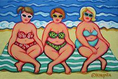 Playa whimsical arte popular 8 x 12 Glicee Print verano Daze