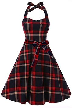 Topdress Women's Vintage Polka Audrey Dress Halter Retro Cocktail Dress Red Plaid S Pin Up Dresses, Pretty Dresses, Sexy Dresses, Vintage Dresses, Long Dresses, Teen Fashion Outfits, Fashion Dresses, Ladies Fashion, Men Fashion