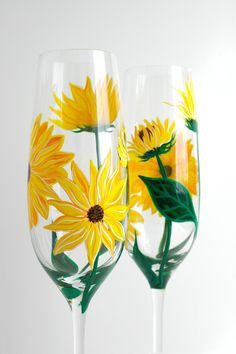 Yellow Sunflower Champagne Flutes. Hand Painted by MaryElizabethArts.com $76