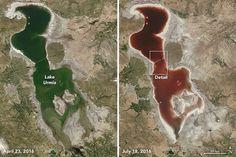 La imagen superior corresponde a dos capturas satelitales del lago Urmía en Irán tomadas con una diferencia temporal de tan solo unos meses. A la izquierda la imagen de la masa de agua en abril de este mismo año, y a la derecha, la fotografía del mismo lugar hace solamente unos días, el 18 de julio.