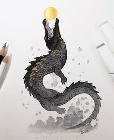 Sun eating celestial crocodile from African tribal belief. It causes sun eclipse Animal Sketches, Animal Drawings, Art Sketches, Art Drawings, Creature Concept Art, Creature Design, Crocodile Illustration, Creature Drawings, Art Inspo