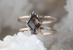 Natural Black Geometric Diamond Ring- double band                                     – Alexis Russell